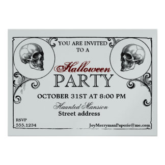 Silver and Black Vintage Gothic Halloween Party Personalized Invitations