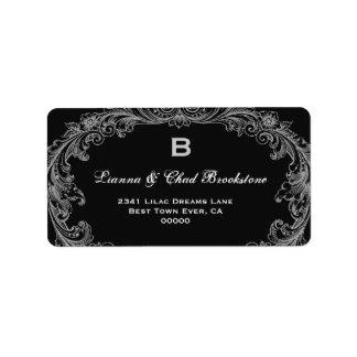 Silver and Black Vintage Wedding Monogram G462 Label
