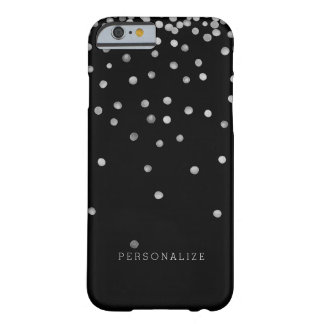 Silver and Black Watercolor Confetti Dots Barely There iPhone 6 Case