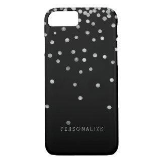 Silver and Black Watercolor Confetti Dots iPhone 8/7 Case