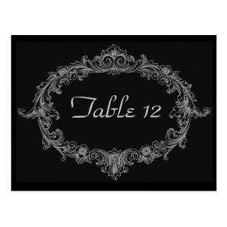 Silver and Black Wedding Reception Table Number Postcard