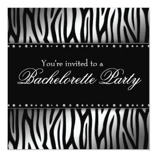 Silver and Black Zebra Diamonds Bachelorette Party Card