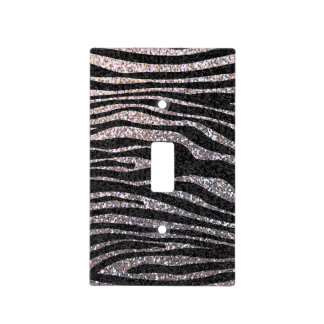 Silver and black Zebra stripe animal print Switch Plate Cover