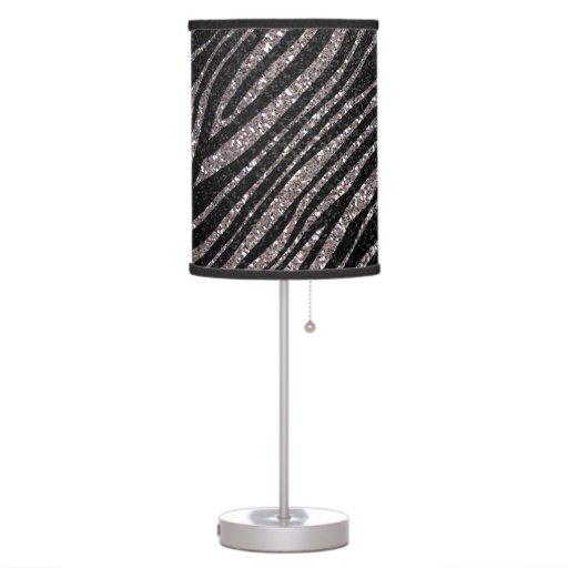 silver and black zebra stripe pattern lamp zazzle. Black Bedroom Furniture Sets. Home Design Ideas