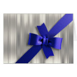 Silver and Blue Bow Greeting Card