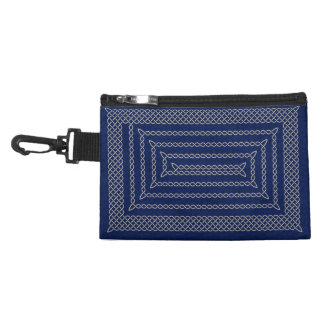 Silver And Blue Celtic Rectangular Spiral Accessories Bags