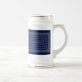 Silver And Blue Celtic Rectangular Spiral Beer Stein