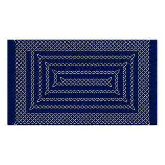 Silver And Blue Celtic Rectangular Spiral Double-Sided Standard Business Cards (Pack Of 100)