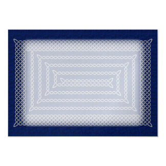 Silver And Blue Celtic Rectangular Spiral Card