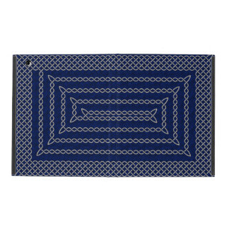 Silver And Blue Celtic Rectangular Spiral iPad Cover