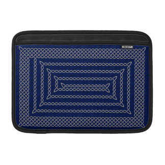 Silver And Blue Celtic Rectangular Spiral MacBook Sleeves