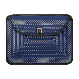 Silver And Blue Celtic Rectangular Spiral Sleeve For MacBook Pro