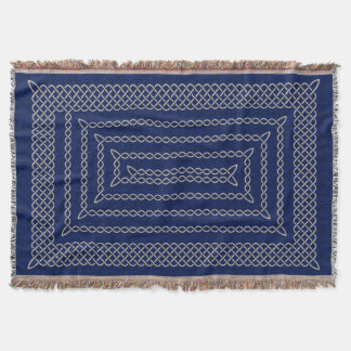 Silver And Blue Celtic Rectangular Spiral Throw Blanket