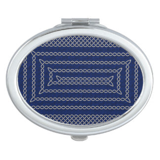 Silver And Blue Celtic Rectangular Spiral Travel Mirror