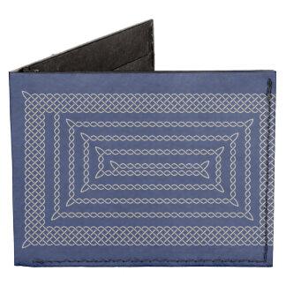 Silver And Blue Celtic Rectangular Spiral Tyvek® Billfold Wallet