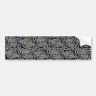 Silver And Blue Celtic Spiral Knots Pattern Car Bumper Sticker