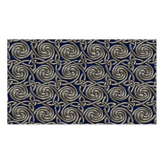 Silver And Blue Celtic Spiral Knots Pattern Business Card Template