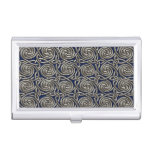 Silver And Blue Celtic Spiral Knots Pattern Business Card Case