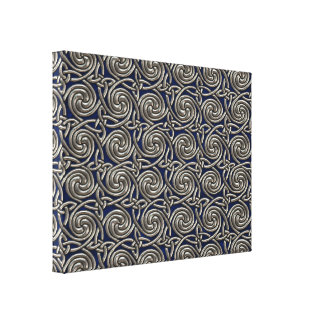 Silver And Blue Celtic Spiral Knots Pattern Canvas Print