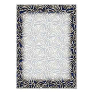 Silver And Blue Celtic Spiral Knots Pattern Card