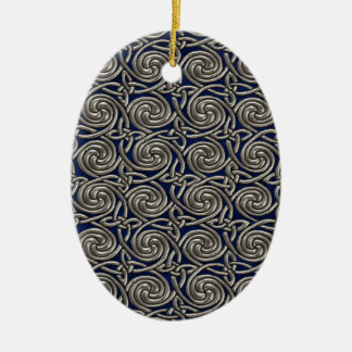 Silver And Blue Celtic Spiral Knots Pattern Ceramic Ornament