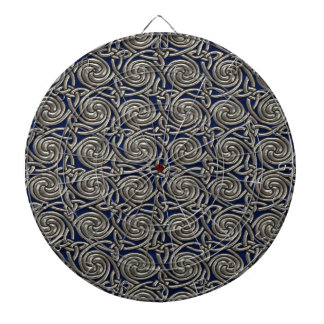 Silver And Blue Celtic Spiral Knots Pattern Dartboard With Darts