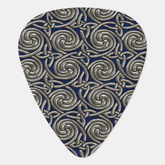 Silver And Blue Celtic Spiral Knots Pattern Guitar Pick