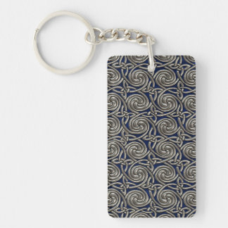 Silver And Blue Celtic Spiral Knots Pattern Double-Sided Rectangular Acrylic Keychain
