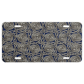 Silver And Blue Celtic Spiral Knots Pattern License Plate