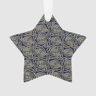 Silver And Blue Celtic Spiral Knots Pattern Ornament
