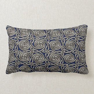 Silver And Blue Celtic Spiral Knots Pattern Throw Pillow