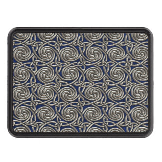 Silver And Blue Celtic Spiral Knots Pattern Trailer Hitch Covers