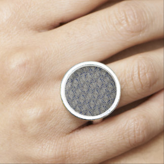 Silver And Blue Celtic Spiral Knots Pattern Ring