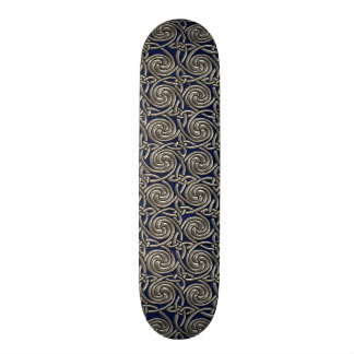 Silver And Blue Celtic Spiral Knots Pattern Skate Boards