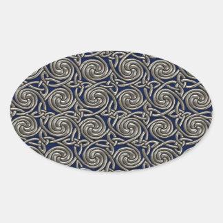 Silver And Blue Celtic Spiral Knots Pattern Sticker