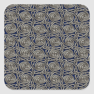 Silver And Blue Celtic Spiral Knots Pattern Stickers