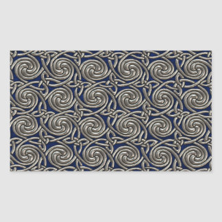 Silver And Blue Celtic Spiral Knots Pattern Rectangular Stickers