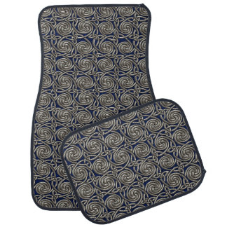 Silver And Blue Celtic Spiral Knots Pattern Floor Mat