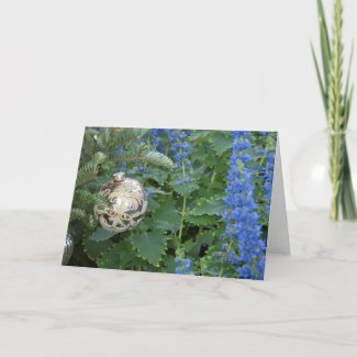 Silver and Blue Christmas Ball Greeting Card