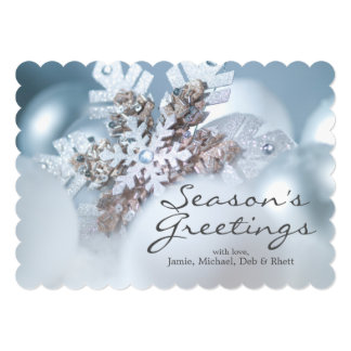 Silver And Blue Christmas ornaments in snow Card