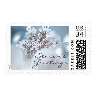 Silver And Blue Christmas ornaments in snow Postage