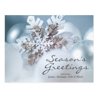 Silver And Blue Christmas ornaments in snow Postcard