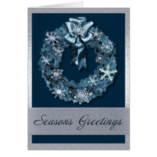 Silver and Blue Christmas Wreath Cards