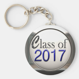 Silver And Blue Class Of 2017 Graduation Keychain