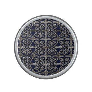 Silver And Blue Connected Ovals Celtic Pattern Bluetooth Speaker