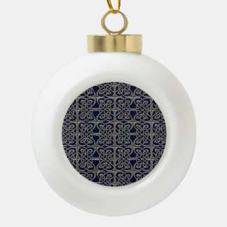 Silver And Blue Connected Ovals Celtic Pattern Ceramic Ball Christmas Ornament