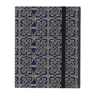 Silver And Blue Connected Ovals Celtic Pattern iPad Folio Case