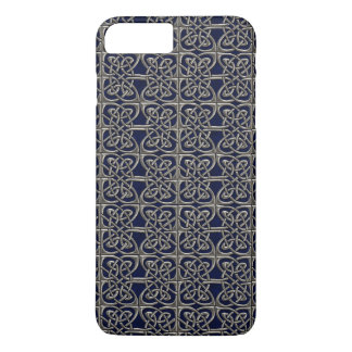 Silver And Blue Connected Ovals Celtic Pattern iPhone 7 Plus Case