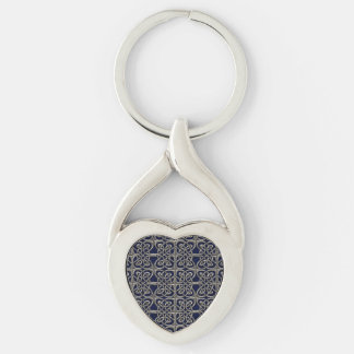 Silver And Blue Connected Ovals Celtic Pattern Keychain