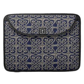 Silver And Blue Connected Ovals Celtic Pattern Sleeves For MacBook Pro